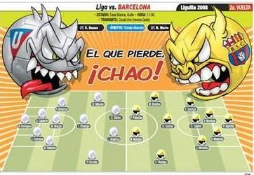 Tensin en Casa Blanca Liga de Quito vs Barcelona en Vivo  EL
